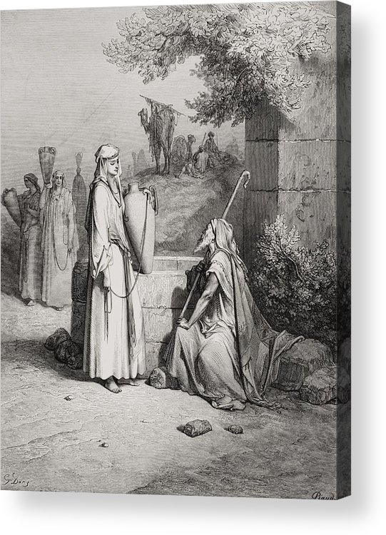 Male Acrylic Print featuring the painting Eliezer And Rebekah by Gustave Dore