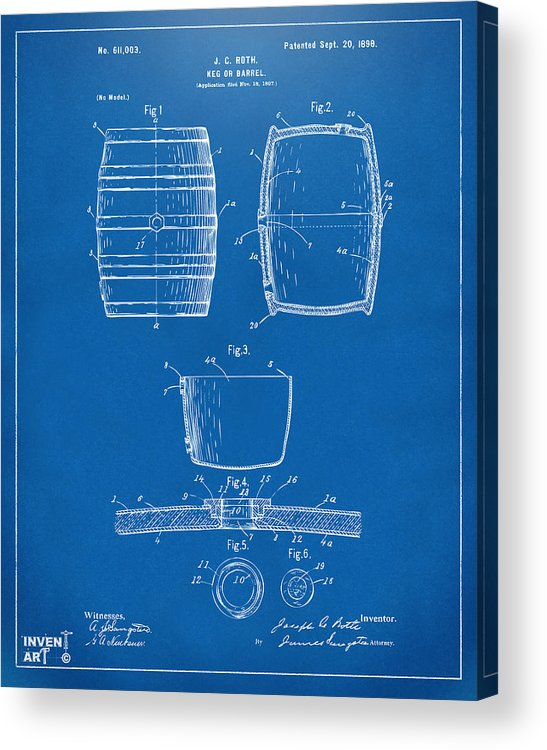 Beer Keg Acrylic Print featuring the digital art 1898 Beer Keg Patent Artwork - Blueprint by Nikki Marie Smith