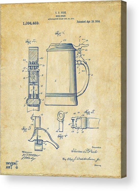 Beer Stein Acrylic Print featuring the digital art 1914 Beer Stein Patent Artwork - Vintage by Nikki Marie Smith