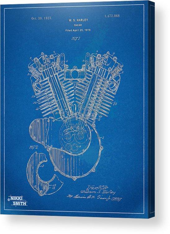 Harley-davidson Acrylic Print featuring the digital art 1923 Harley Davidson Engine Patent Artwork - Blueprint 1923 by Nikki Smith