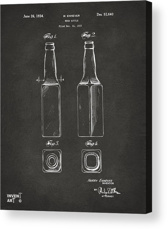 Beer Bottle Acrylic Print featuring the digital art 1934 Beer Bottle Patent Artwork - Gray by Nikki Marie Smith