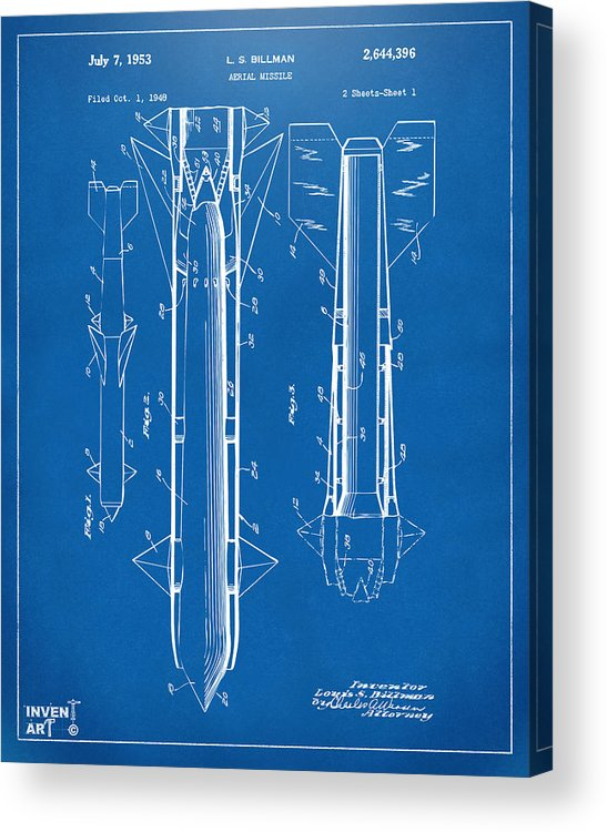 Aerial Missle Acrylic Print featuring the digital art 1953 Aerial Missile Patent Blueprint by Nikki Marie Smith