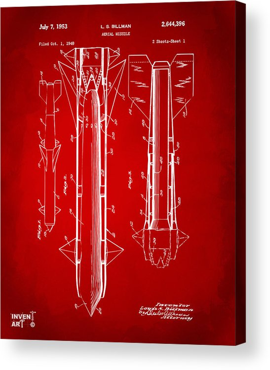 Aerial Missle Acrylic Print featuring the drawing 1953 Aerial Missile Patent Red by Nikki Marie Smith