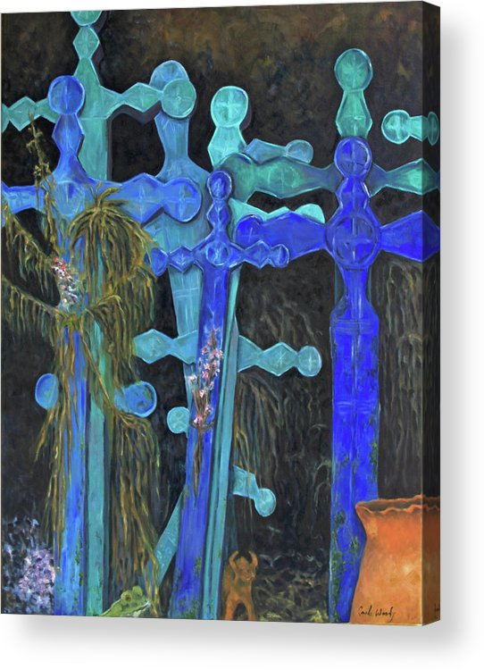 Shrine Acrylic Print featuring the painting Earth Lord Shrine by Carla Woody