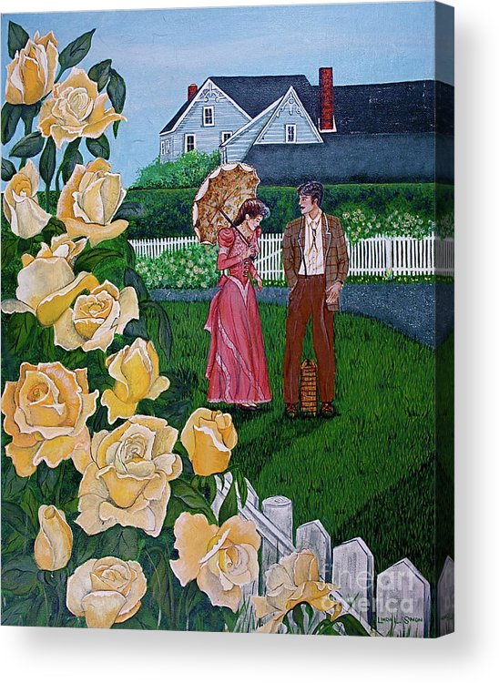 Picnic Acrylic Print featuring the painting Grace Under The Parasol by Linda Simon