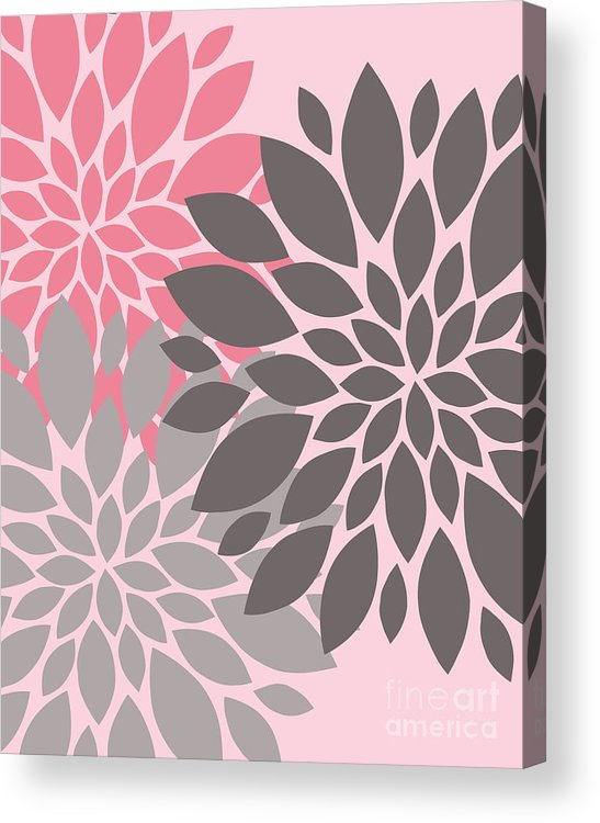 Pink Acrylic Print featuring the digital art Pink Gray Peony Flowers by Voros Edit