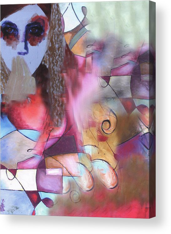 Acrylic On Canvas Acrylic Print featuring the painting The Stare by Sid Katragadda