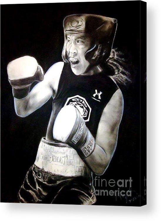 Ana Julaton Acrylic Print featuring the drawing Woman's Boxing Champion Filipino American Ana Julaton by Jim Fitzpatrick