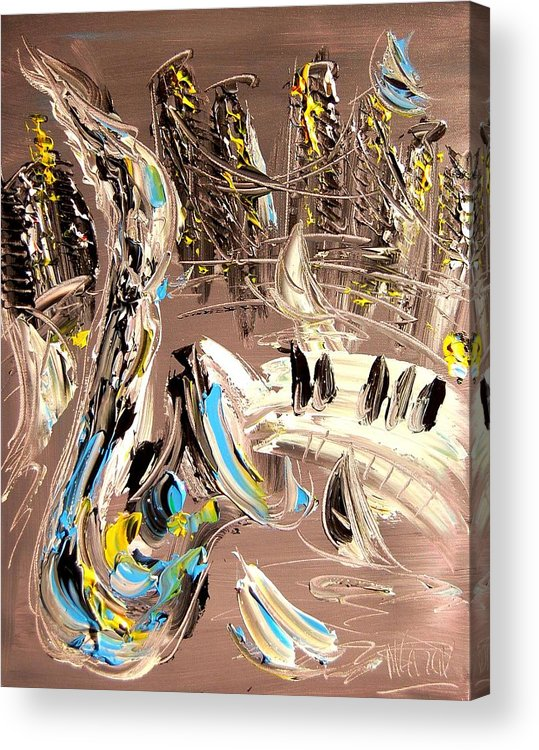Nature Acrylic Print featuring the painting New York by Mark Kazav