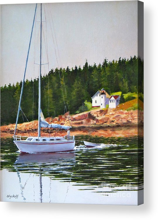 Sailboat Acrylic Print featuring the painting Bass Harbor Light by Karol Wyckoff