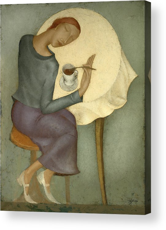 Morning Acrylic Print featuring the painting Morning Coffee by Nicolay Reznichenko