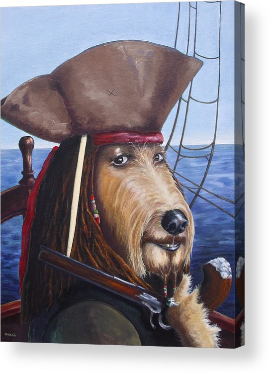Dog Acrylic Print featuring the painting A Doodle On The High Seas by Diane Daigle