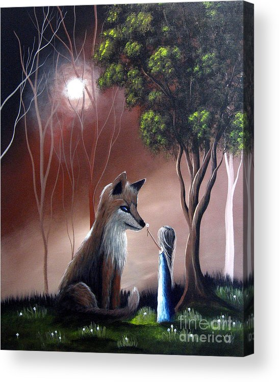 Red Fox Acrylic Print featuring the painting A Midnight Moment By Shawna Erback by Artisan Parlour