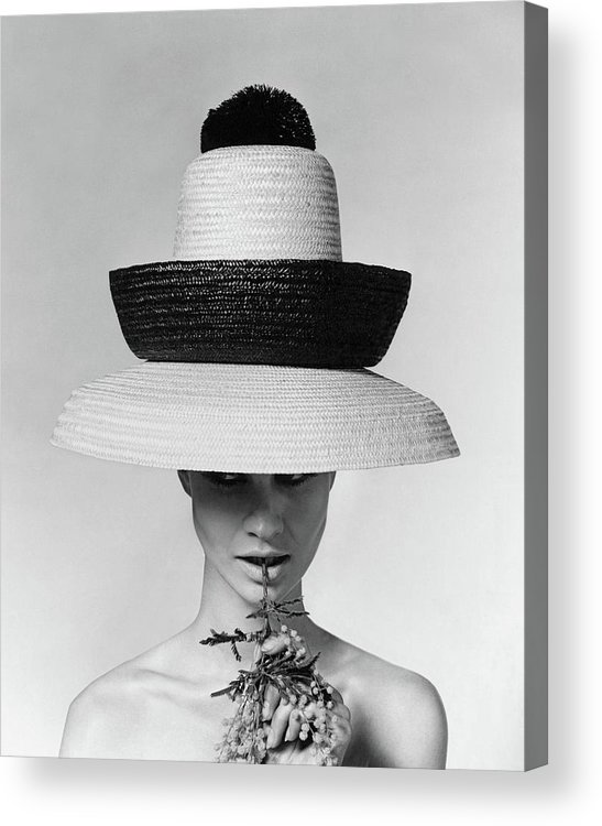 Accessories Acrylic Print featuring the photograph A Model Wearing A Sun Hat by Karen Radkai