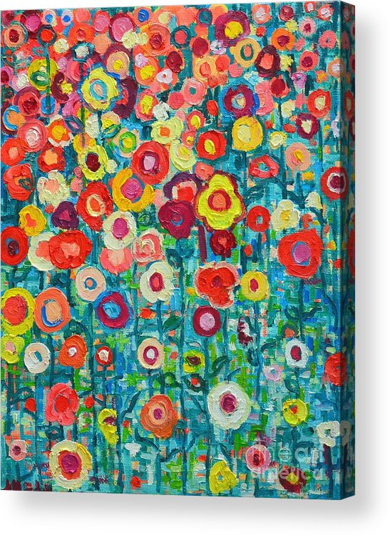 Abstract Acrylic Print featuring the painting Abstract Garden Of Happiness by Ana Maria Edulescu
