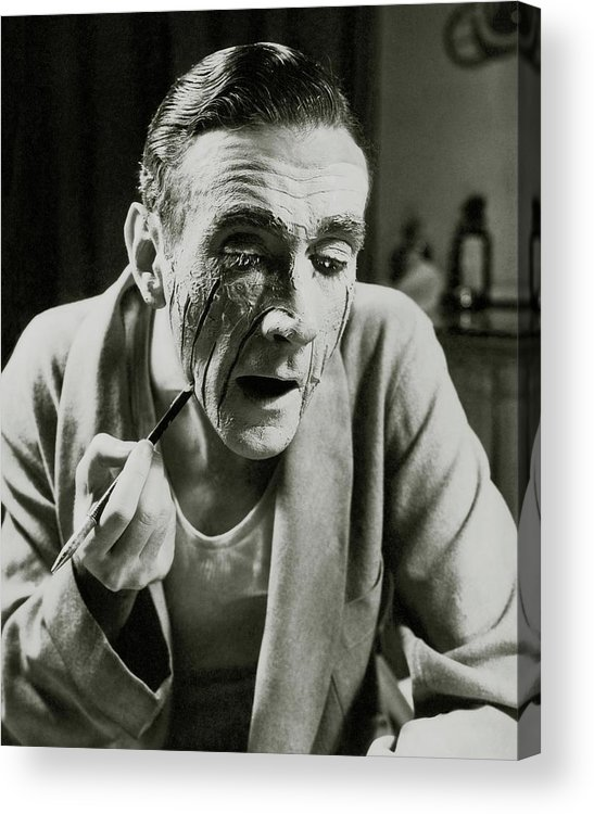 Actor Acrylic Print featuring the photograph Actor Clifton Webb Applying Make-up by Lusha Nelson