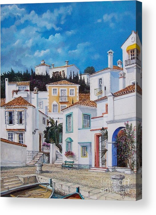 Cityscape Acrylic Print featuring the painting Afternoon Light In Montenegro by Sinisa Saratlic
