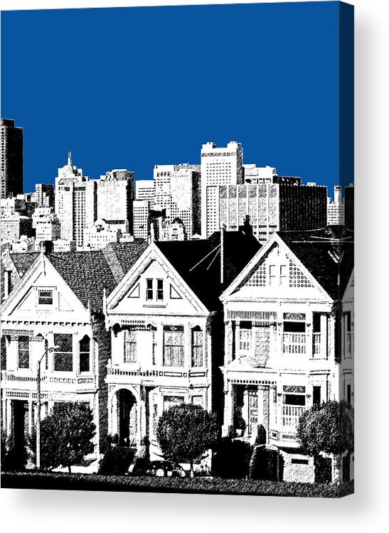 Architecture Acrylic Print featuring the digital art Alamo Square - Royal Blue by DB Artist