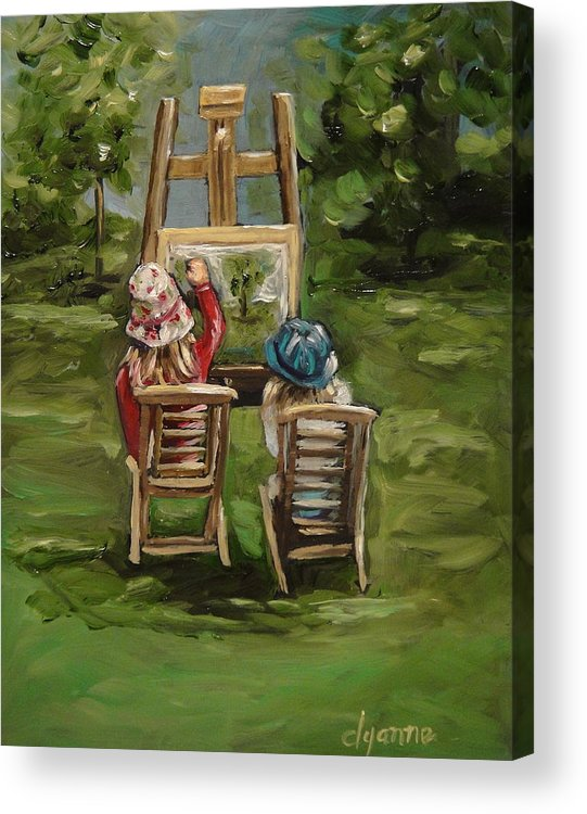 Figurative Acrylic Print featuring the painting Art Of Teaching Oil Painting by Dyanne Parker