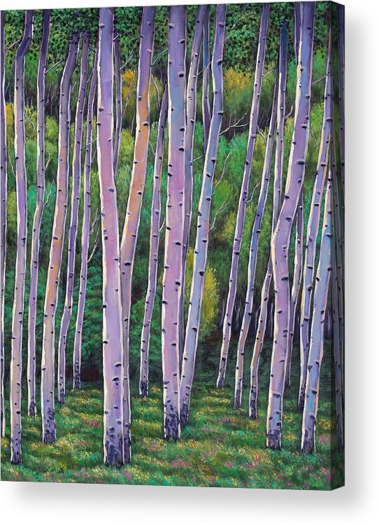Autumn Aspen Acrylic Print featuring the painting Aspen Enclave by Johnathan Harris