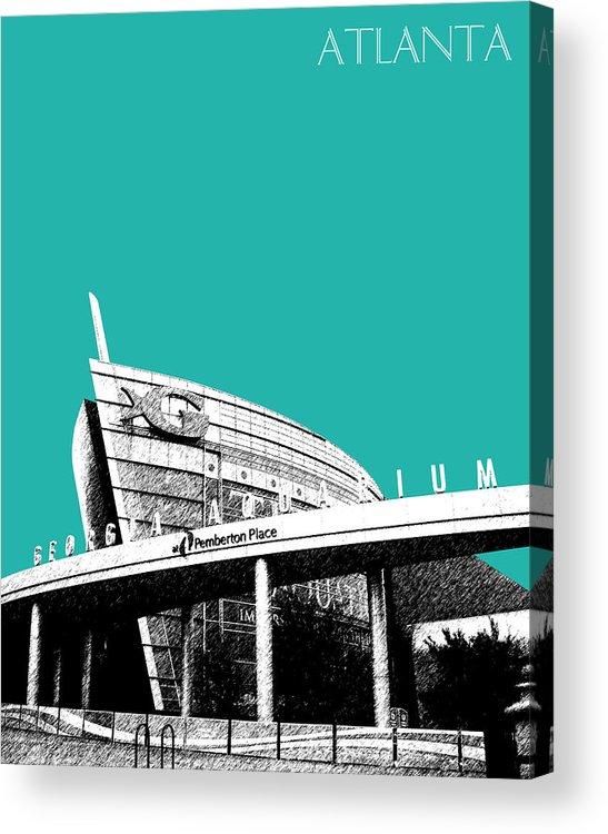 Architecture Acrylic Print featuring the digital art Atlanta Georgia Aquarium - Teal Green by DB Artist