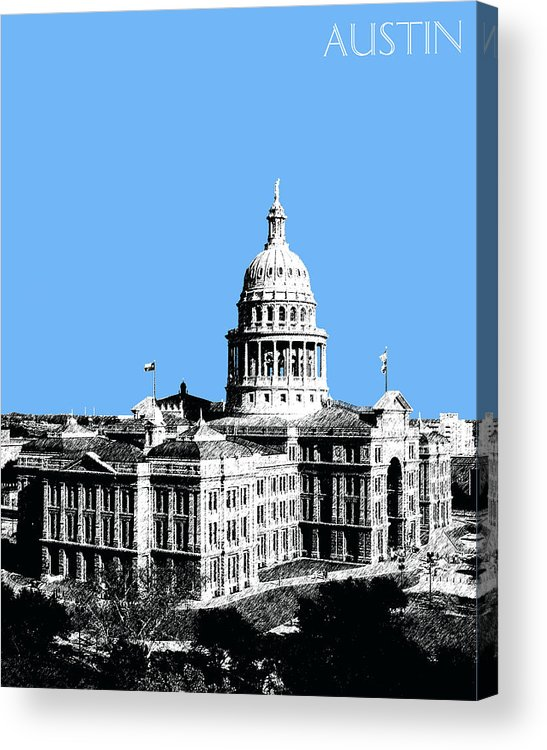 Architecture Acrylic Print featuring the digital art Austin Texas Capital - Sky Blue by DB Artist