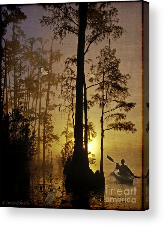 Bayou Acrylic Print featuring the digital art Bayou Sunrise by Lianne Schneider