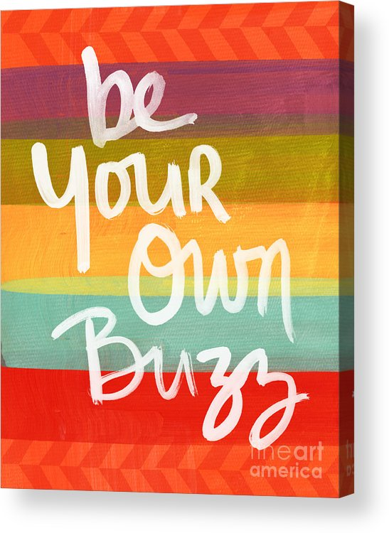 Stripes Acrylic Print featuring the painting Be Your Own Buzz by Linda Woods