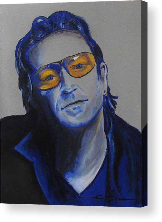 Celebrity Portraits Acrylic Print featuring the painting Bono U2 by Eric Dee