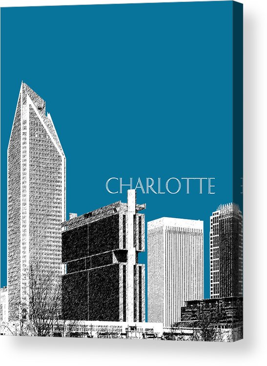 Architecture Acrylic Print featuring the digital art Charlotte Skyline 1 - Steel by DB Artist