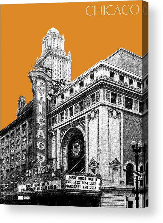 Architecture Acrylic Print featuring the digital art Chicago Theater - Dark Orange by DB Artist