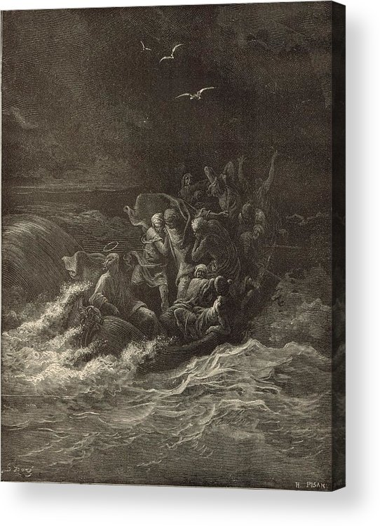 Biblical Acrylic Print featuring the drawing Christ Stilling The Tempest by Antique Engravings