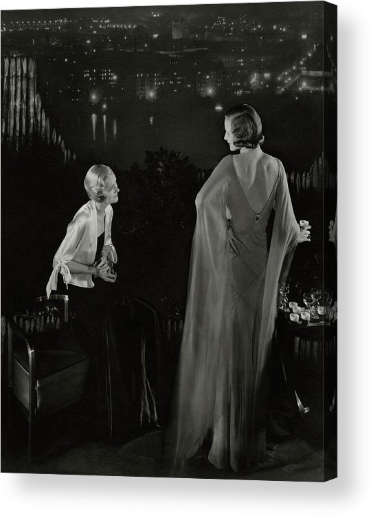 New York City Acrylic Print featuring the photograph Claire Coulter And Avis Newcomb Wearing Evening by Edward Steichen