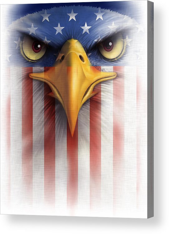 Close-up Of Bald Eagle With American Flag Overlay Acrylic Print