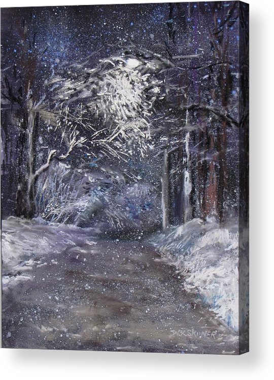 Snow Acrylic Print featuring the painting Country Road On A Wintery Night by Jack Skinner