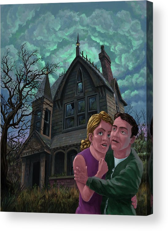 Ghost Acrylic Print featuring the painting Couple Outside Haunted House by Martin Davey