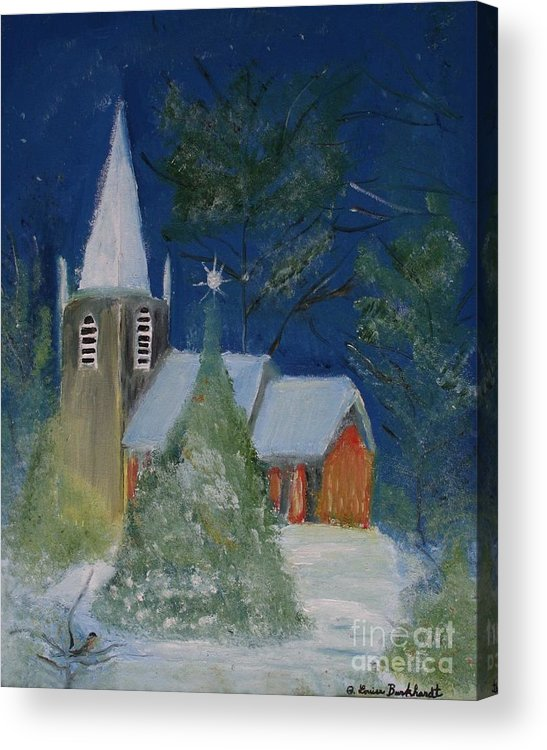 Christmas Holiday Scenery Acrylic Print featuring the painting Crisp Holiday Night by Louise Burkhardt