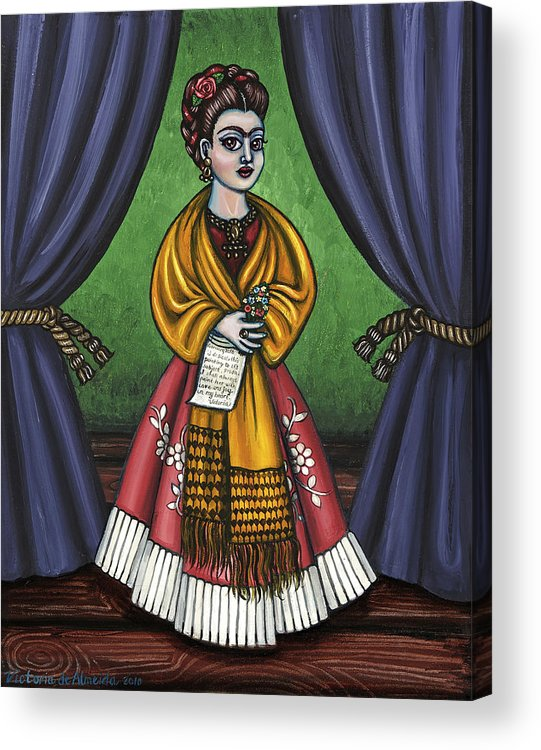 Folk Art Acrylic Print featuring the painting Curtains For Frida by Victoria De Almeida