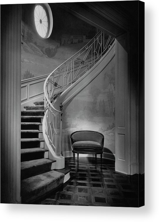 Interior Acrylic Print featuring the photograph Curving Staircase In The Home Of W. E. Sheppard by Maynard Parker