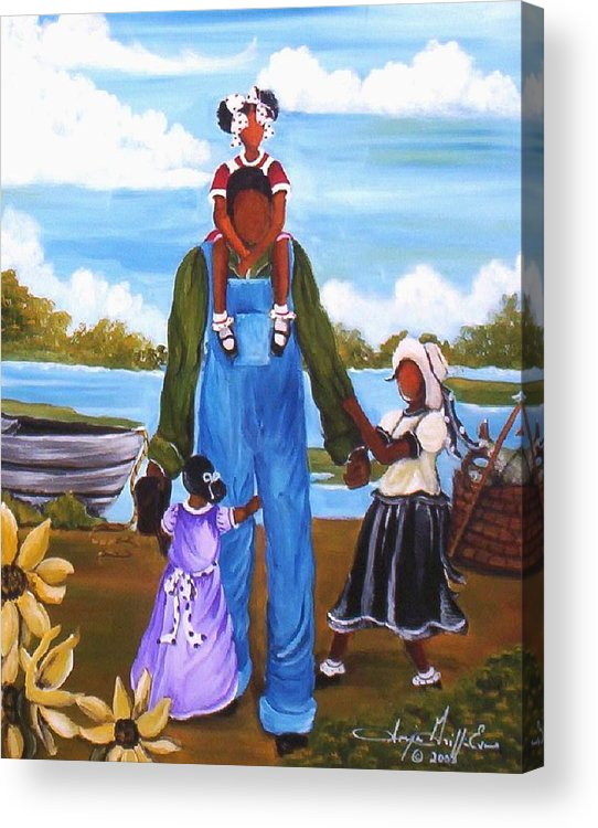 Sonja Griffin Evans Acrylic Print featuring the painting Daddy's Little Girls by Sonja Griffin Evans