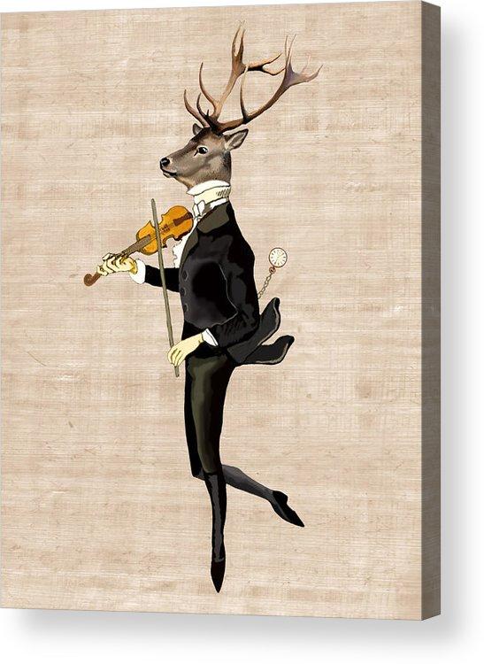 Deer Framed Prints Acrylic Print featuring the digital art Dancing Deer With Violin by Loopylolly