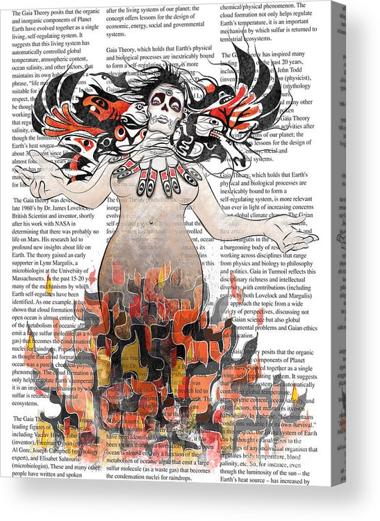 Gaia Acrylic Print featuring the digital art Day Of The Dead Gaia In Flames With Text Illustration Print by Sassan Filsoof