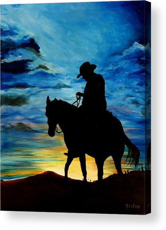 Western Art Acrylic Print featuring the painting Days End by Stefon Marc Brown