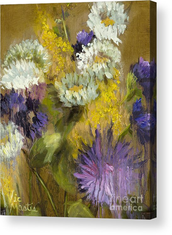 Flower Acrylic Print featuring the painting Delicate Aroma I -unframed-with Gold Leaf By Vic Mastis by Vic Mastis