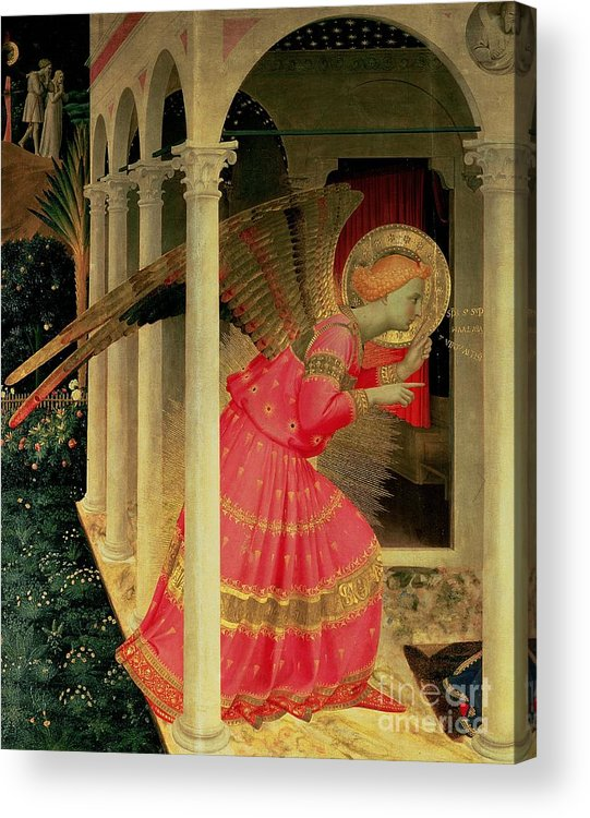 Arcade Acrylic Print featuring the painting Detail From The Annunciation Showing The Angel Gabriel by Fra Angelico