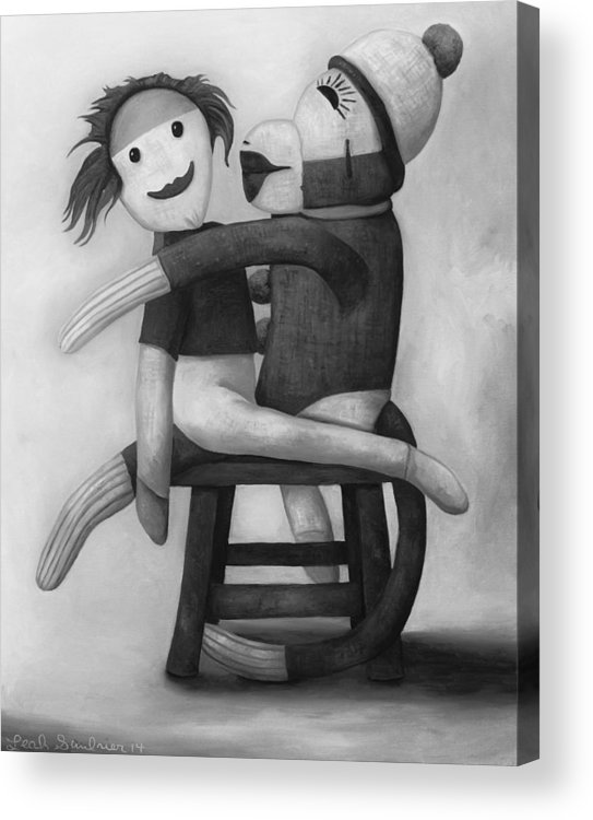 Doll Acrylic Print featuring the painting Dirty Socks 5 Edit 3 by Leah Saulnier The Painting Maniac