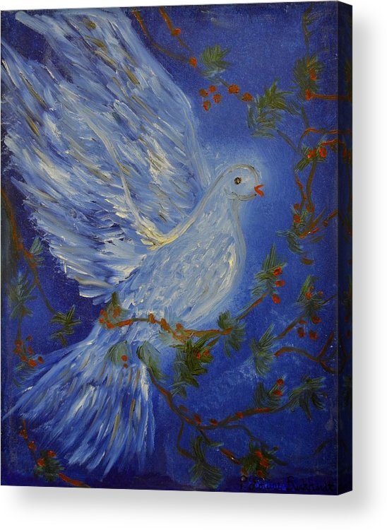 Dove Acrylic Print featuring the painting Dove Spirit Of Peace by Louise Burkhardt