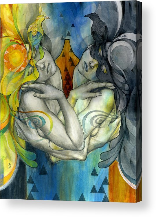 Duality Acrylic Print featuring the painting Duality by Patricia Ariel