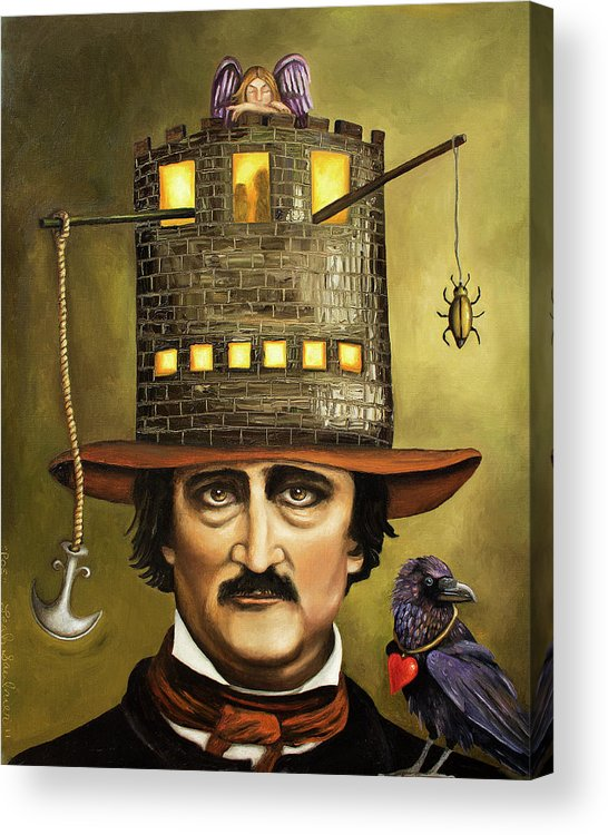 Poe Acrylic Print featuring the painting Edgar Allan Poe by Leah Saulnier The Painting Maniac