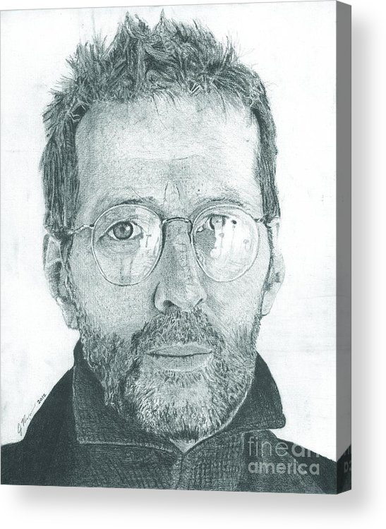 Eric Clapton Legendary Guitar Player Songwriter Slowhand Derek And The Dominoes Cream Acrylic Print featuring the drawing Eric Clapton by Jeff Ridlen